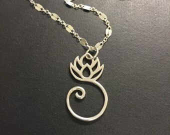 Silver Necklace, Lotus Flower Necklace