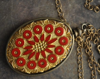 Vintage Assemblage Gold Leaf and Red Incised Glass Cabochon Necklace