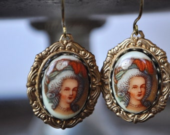 Marie Antoinette Vintage Glass Cabochon Earrings in Scallop Scroll Setting - Vintage Assemblage