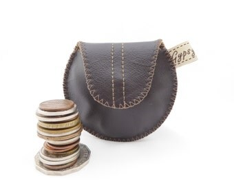 Men's Leather Change Purse / Coin Purse Mini Gypsy Guys / Brown Leather and Wool