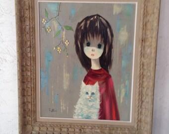 Big Eye Girl with White Cat Original Mid Century Modern Large Oil Painting , Keane Igor era Painting