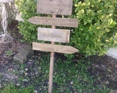 DIY Aged Wood Wedding Sign on Stake Rustic Western Blank  Directional Arrow Ready to Ship