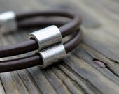 Leather Mens Bracelet Gift For Him Urban Hunter Bracelet  Birthday Gift Men Dude Dad Boyfriend Silver