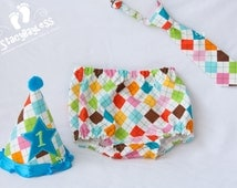 Argyle Cake Smash Outfit in Teal Accent - Custom Shirt - Party Hat - Diaper Cover - Necktie for Baby Boy First Birthday