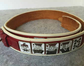 Very RARE Vintage red leather playing card belt