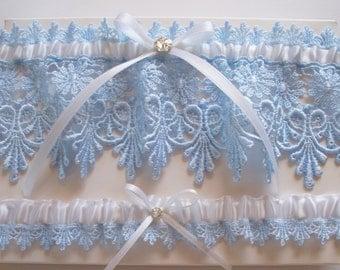 Wedding Garter Set in Light Blue Lace, White Bow and Swarovski Crystal Centering - The ALICIA Garter Set