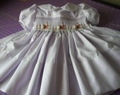 Smocked  Easter Dress - BUNNIES - Peter Pan Collar,