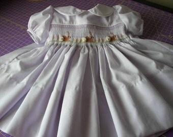 Smocked  Easter Dress - BUNNIES - Peter Pan Collar,