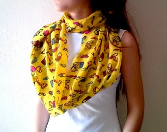 Infinity Scarf Jewelry Yellow beaded scarf necklace Women's Accessories Infinity Scarves for Women