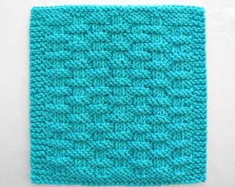 Knit Dishcloth, Cotton Washcloth, Aqua Kitchen Decor, Aqua Blue Basketweave Dishcloth
