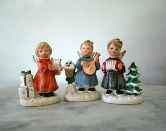Vintage  Ceramic Figurines  Numbered x8371 Trio of Angel Christmas Musicians Madolin Accordian and Harp Players