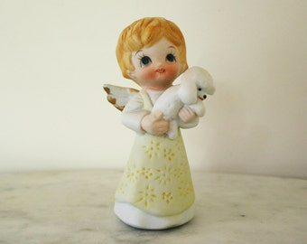 Sweet  Vintage  Ceramic Bisque  Treasure Master Taiwan Angel Holding Lamb or Puppy Figurine