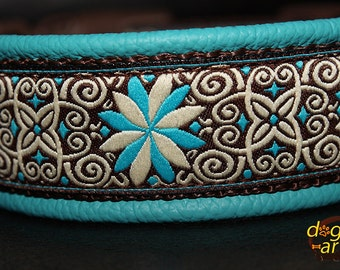 Handmade Easy Release Buckle Leather Dog Collar PINWHEEL ZINNIA by dogs-art in teal/brown/zinnia turquoise