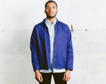 Vintage Mens CHORE Jacket . 1980s Sanfor Faded Blue Canvas French Style Workwear Jacket Blazer Outerwear Menswear . Medium Large