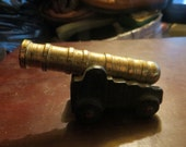 vintage antique cast iron and brass miniature toy cannon