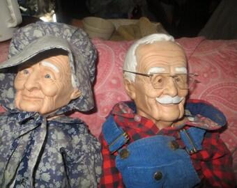1989 2.     William Wallace Jr. Grandma and Grandpa  Plush / Ceramic Farm Dolls 36 in