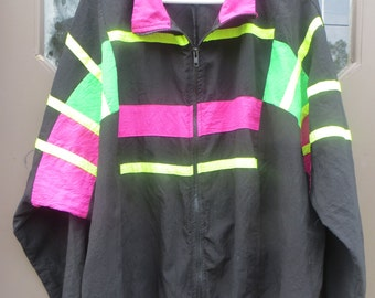 """80's Vintage """"SILVER THREADS"""" womens  nylon  black  with colorful  block colors pattern windbreaker jacket  large-xlarge"""