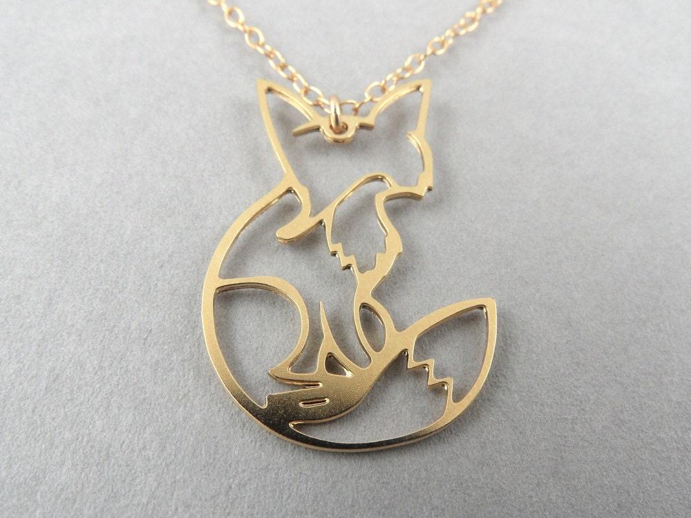 fox necklace fox necklace fox jewelry fox pendant gold