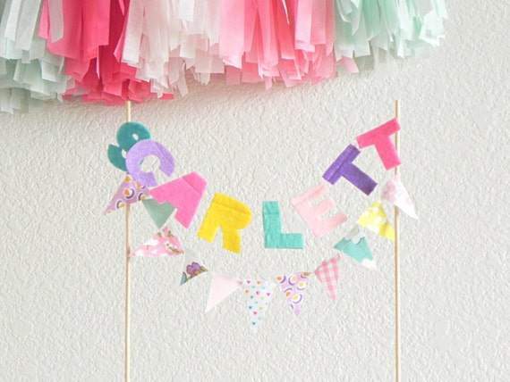 Custom Girl Name Circus Cake Topper