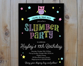 Sleepover Party  Invitation, Slumber Party Night Owl Neon Bright Colors, Printable Digital Invitation, 8316
