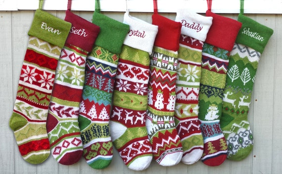 Personalized Knitted Christmas Stockings Green White by eugenie2