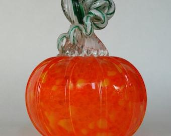 Hand Blown Glass Pumpkin Orange and Yellow Halloween Pumpkin Holiday Decor