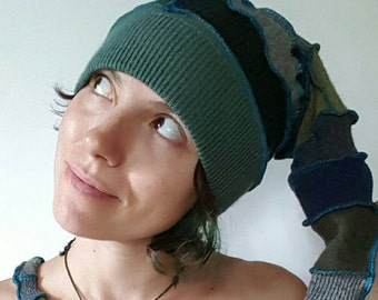 Teal Green Blue and Grey Gnome Elf Recycled Sweater Hat