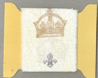princess crown french FLEUR DE LIS hand made torn ribbon natural cotton muslin gift wrap home decor Paris apt country french farm  1325 51