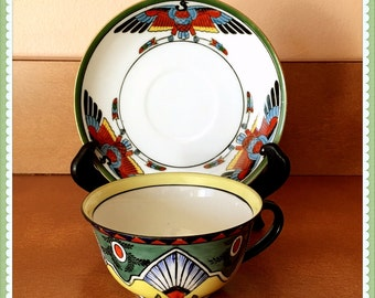 Egyptian Nekhbet Cup and Saucer, Goddess, Vulture Form, Mythology, Noritake, Porcelain, Unique, Rare Find, Vintage 1920's 1930
