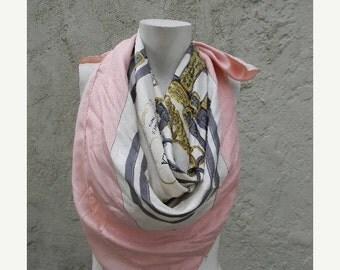 ON SALE vintage. AUTHENTIC HermesParis Brides de Gala  //  Large Pink Silk Scarf