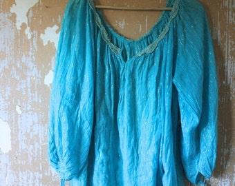20% OFF SALE vintage. 70s Rare Turquoise Blue Indian Gauze Cotton Top // Bohemian Freespirit Gypsy Indian Cotton  // Free Size