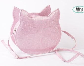 holographic sparkles on pastel patent cat bag