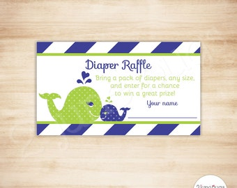 Navy Whale Diaper Raffle Tickets - Whale Baby Boy Shower Invitation Inserts - PRINTABLE - INSTANT DOWNLOAD