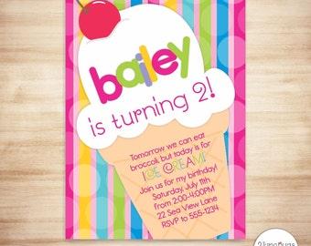 Ice Cream Invitation - Ice Cream Girl Birthday Invitation - Ice Cream Cone Party Invitation - Summer Party - PERSONALIZED, PRINTABLE