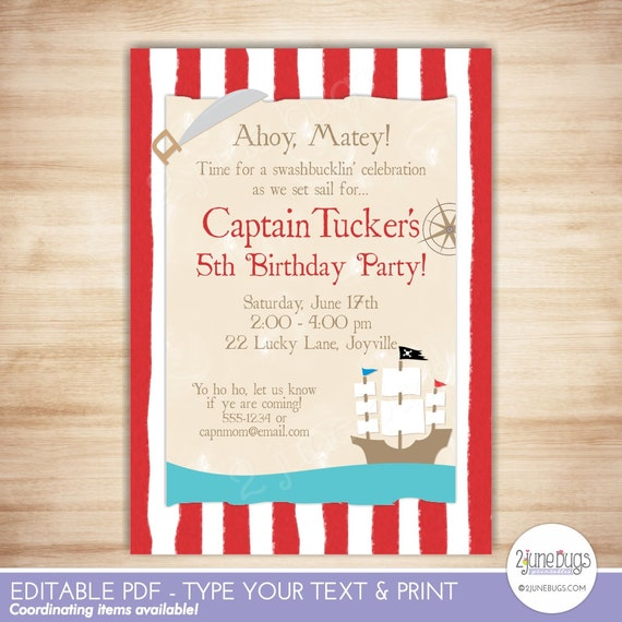 pirate birthday party invitation pirate party invite pirate, Birthday invitations