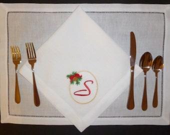 4 Christmas Dinner Napkin Embroidered Monogram Personalized Linen Dinner Party Napkins Sonia Showwalter Design with Monogram Napkins