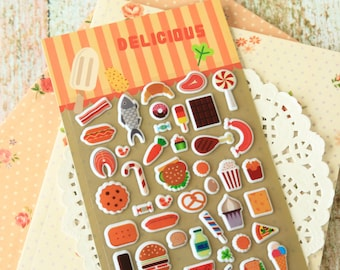 Delicious Food cartoon puffy stickers