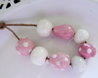 Destash Pink and White Handmade Ceramic beads
