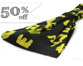 Batik Bandana, Black Headband, Retro Headcovering, Batik Headscarves, Black & Yellow Peace Headband (#4102) S M L