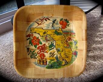 SaLe! Retro Vintage  Souvenir Bamboo SQUARE Wooden FLORIDA Chip Bowl Unique Shape & Art Cypress Gardens Marineland