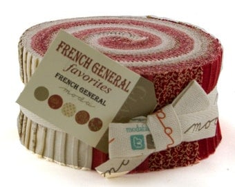 FRENCH General Favorites Jelly Roll shabby quilt fabric Kaari Meng Moda precuts reproduction turkey red  2.5 in strips