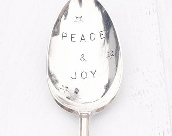 Peace and Joy Hand Stamped Vintage Serving Spoon - Gifts for the Hostess Ready To Ship