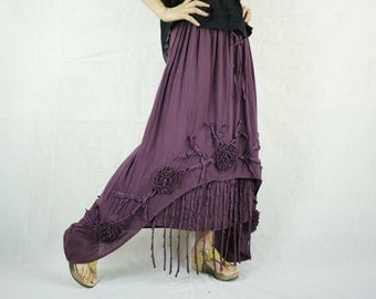 Funky Boho Gpysy Hippie Floral Applique Plum Double Layer Light Cotton skirt Fit From Size 8  To Size 20