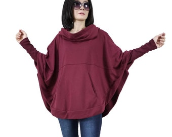 Burgundy Cotton Mix Polyester Jersey Oversize Hood Cape Batwing Sweater Dolman Sleeve Blouse Women Freesize Tops Fit From Size 4 To Size 3X