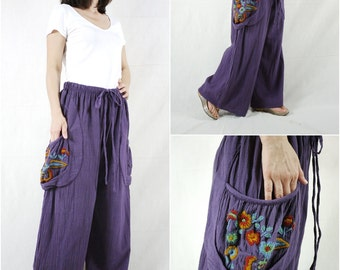 Look At Me Now...Simply Wide Legs Purple Cotton Pants With Floral Hand Embroidered Detail On Right Pocket