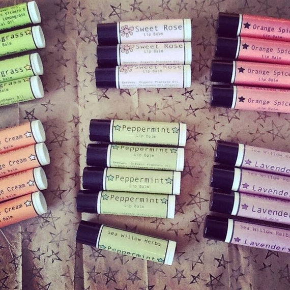 Organic  Lip Balm Handmade // Pick 3 of your Choice // Stocking Stuffer //  Herbal and Natural with Essential Oils