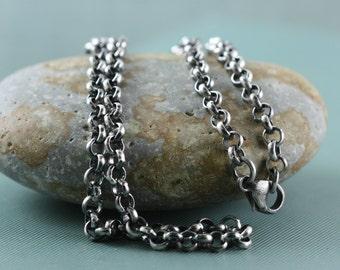 Heavy Sterling Silver 4mm Chain, 16, 18, 20, Mens, Womens, Rolo Belcher Chain For Pendant Charm, Rustic Oxidized, Bright, Rollo Chain