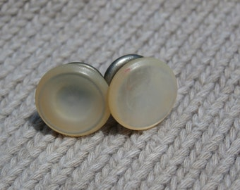 Parkroger Jiffy Spring Mother of Pearl Deco Style Single Cufflink, Vintage for Him