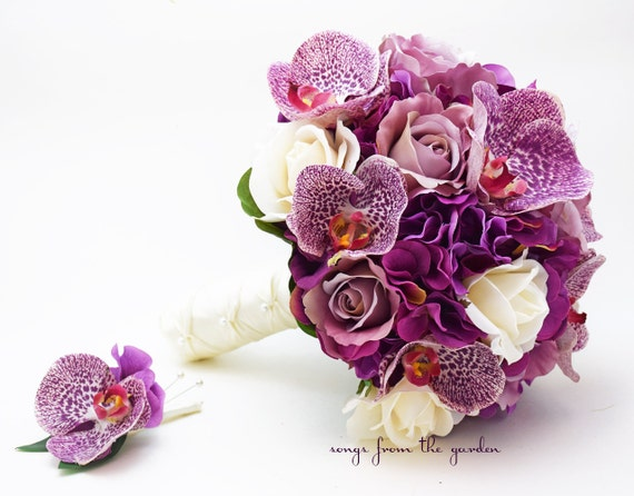 Orchids Roses Hydrangea Wedding Flower Package Bridal Bouquet Real Touch Roses Silk Roses Hydrangea Plum Purple Ivory