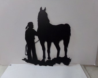 Cowgirl 012  Western Metal Wall Barn Yard Art Silhouette